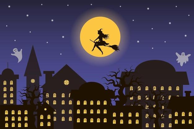 달을 향해 날아가는 마녀가 있는 할로윈 밤 도시 유령이 도시 위를 날고 있다