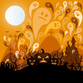 Halloween night in a graveyard template