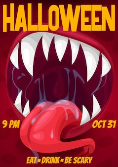 Halloween night horror party poster of screaming monster with vampire mouth