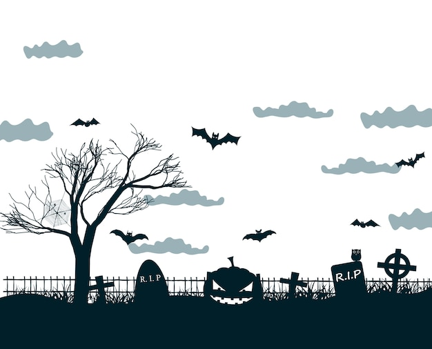 Halloween night illustration in black, white, grey colors with dark cemetery crosses, dead tree, smiling pumpkins and bats