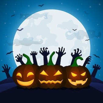 Halloween night illustration for greeting card
