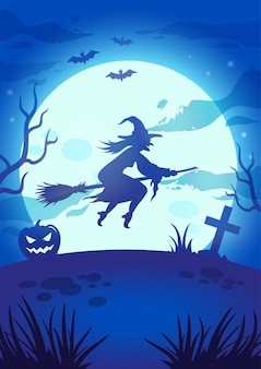Halloween night illustration with big glowing moon, flying witch, pumpkin, grave and bats