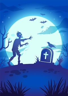 Halloween night illustration with big glowing moon, walking dead, tombstone and zombie hand