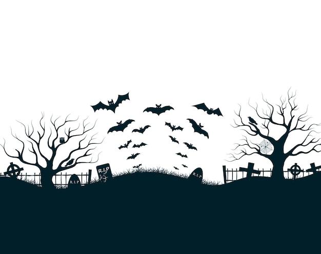 Illustrazione di notte di halloween con croci del cimitero del castello scuro, alberi morti e pipistrelli
