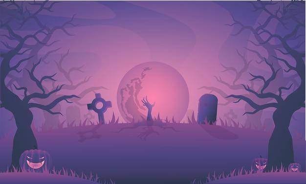 墓石とハロウィーンの夜のイラスト