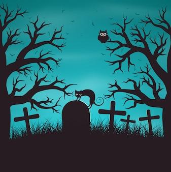 고양이와 오래 된 묘지에 나무에서 할로윈 밤