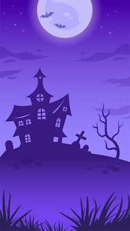 Halloween night iullustration with full moon, witch house, tombstone, evil tree and bats