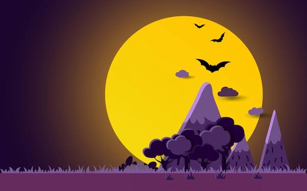 Halloween night landscape background