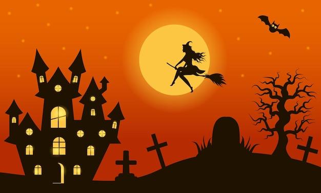 묘비와 무서운 성이 있는 묘지 위의 빗자루를 타고 날아가는 마녀가 있는 할로윈 밤 풍경. 보름달이 빛나고 박쥐가 날고 있습니다.
