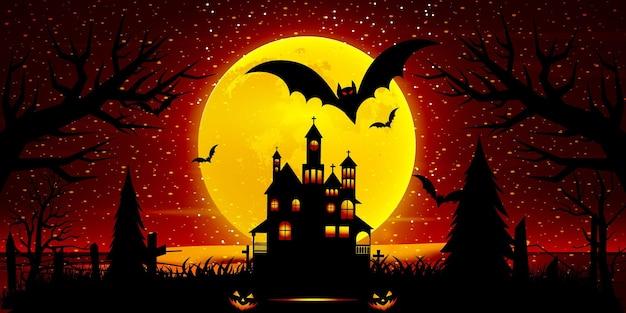 Композиция ночной луны на хэллоуин со светящимися тыквами, старинным замком и летучими мышами, летающими над кладбищенской квартирой