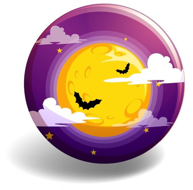Ночь хэллоуина на круглом значке
