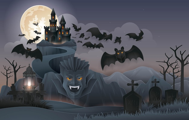 Halloween night party, dracula's castle rock mountain with bats monster