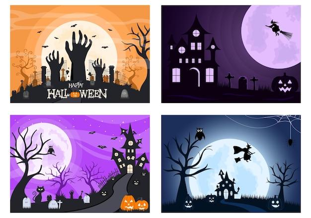 Halloween night party illustration