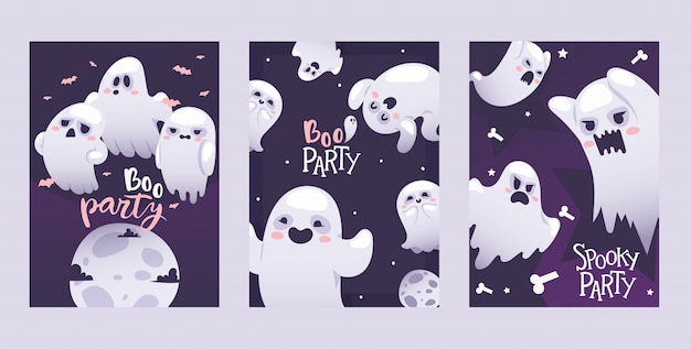 Halloween night party invitation ghosts