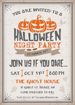 Halloween night party invitation with scary pumpkins design.