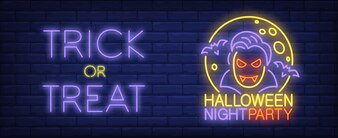 Halloween night party neon style banner. Trick or Treat text, vampire, bats and moon