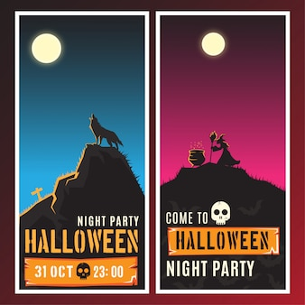 Halloween night party vertical banners