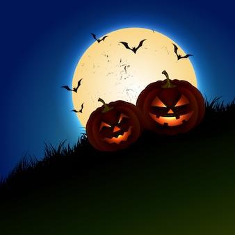 Halloween night scene with scary pumpkin