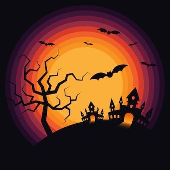 Предпосылка пейзажа ночи хэллоуина декоративная с замком и летучими мышами. элемент дизайна для хэллоуина