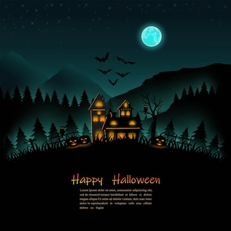 Halloween night on silhouette background for posterflyertemplate or party invitation
