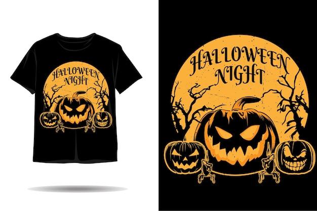 ハロウィーンの夜のシルエットのtシャツのデザイン