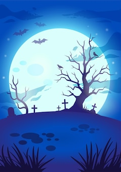 Halloween night spooky background with big glowing moon flying bats scary tree graves and crosses