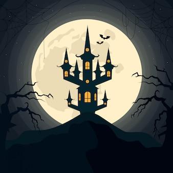 ハロウィーンの夜、月と怖い城の不気味な風景。ベクトルイラスト。