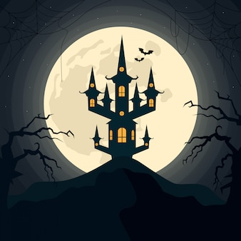 Halloween night spooky landscape with moon and scary castle. vector illustration.