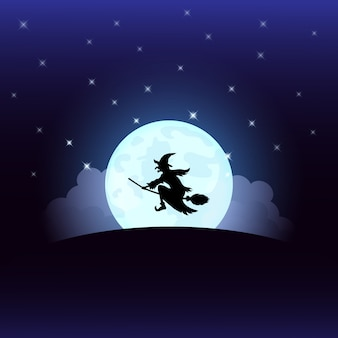 Halloween night witch on the full moon