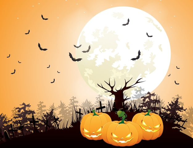 Halloween night with pumpkins and full moon behind