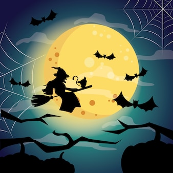 Halloween night with a witch