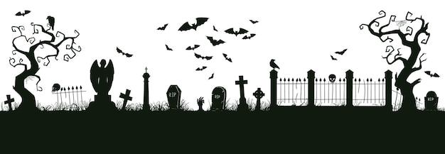 할로윈 악몽 풍경입니다. 만화 짜증 할로윈 묘지 풍경 벡터 배경 일러스트 레이 션. 소름 끼치는 할로윈 묘지 보기 실루엣입니다. 할로윈 악몽 풍경 실루엣
