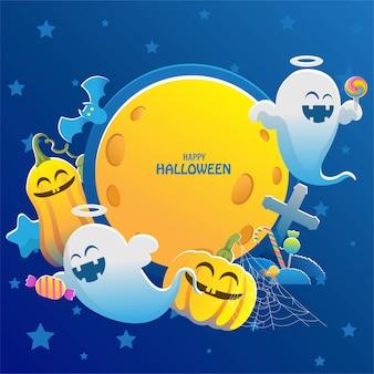 Halloween ning full moon stars on night sky. pumpkin and ghost