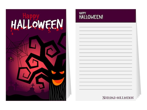 Halloween notepad cover with tree
