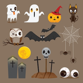 Halloween objects icons set