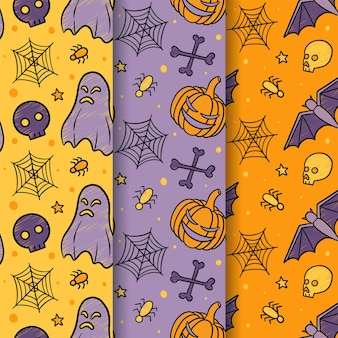 Halloween october hand drawn seamless pattern free vector