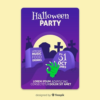Halloween october party in a cemetery poster