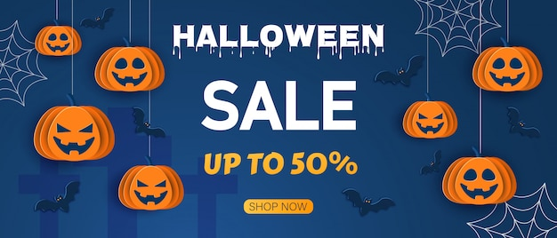 Halloween offer design template. sale background. cartoon style  illustration. halloween classic blue background with pumpkins and bats in paper style,