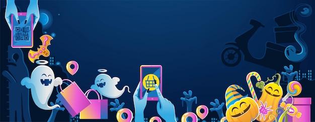 携帯電話でハロウィーン。幸せなハロウィーンのバナー。墓地の夜とハロウィーンの背景