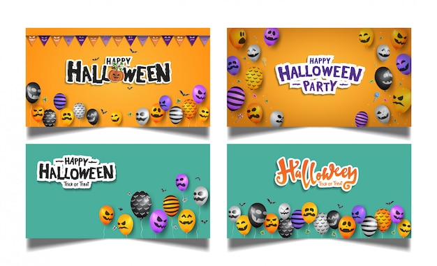 Halloween orange blue card set