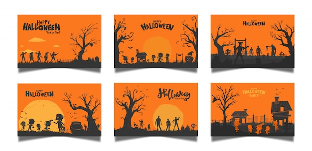 Halloween orange card set