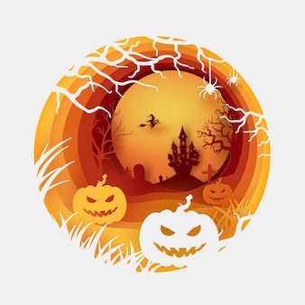 Halloween orange circle template in paper cut concept with witch, pumpkin and castle.