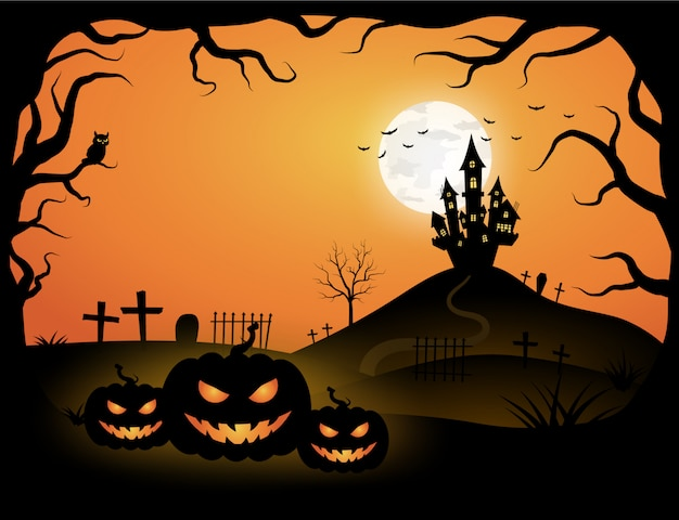 Halloween orange template in night sky view with dark tree, pumpkin, castle and full moon.