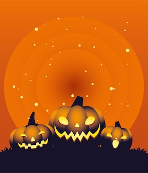 Хэллоуин оранжевый дизайн мультфильмов три тыквы, праздник и страшная тема
