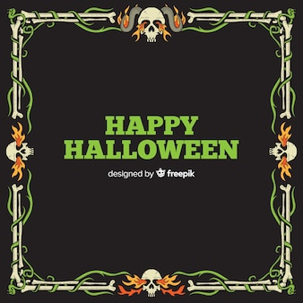 Halloween ornamental frame with flat design