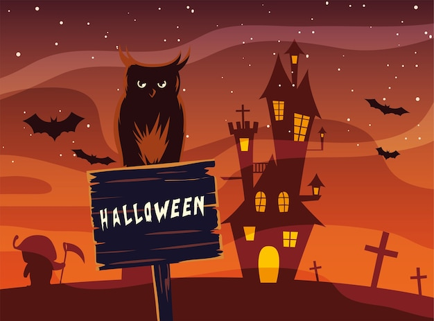 Halloween owl cartoon on wood banner in front of castle design