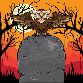 Halloween owl sitting at blank tomb stone background