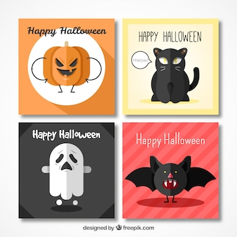 Halloween pack of cards with characters in flat design