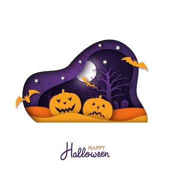 Halloween paper art greeting card.