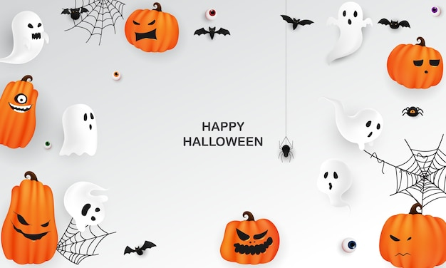 Плакат партии искусства бумаги хэллоуина. карнавал фон концепции дизайна